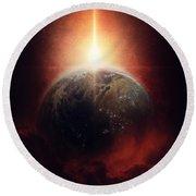 Earth Emerges Round Beach Towel