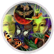 Earth Energy Meridan Round Beach Towel