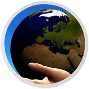 Earth Globe Round Beach Towel