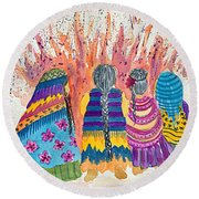 Earth Mothers - Feeding  The Fire Round Beach Towel