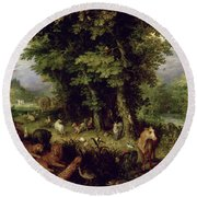 Earth Or The Earthly Paradise Round Beach Towel by Jan the Elder Brueghel