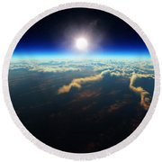 Earth Sunrise From Outer Space Round Beach Towel