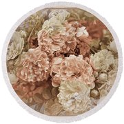 Earth Toned Roses Round Beach Towel