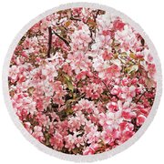 Earth Tones Apple Blossoms  Round Beach Towel