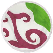 Earths Floral Waves  Round Beach Towel