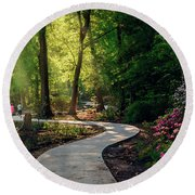 Earyl Morning Walk Through Honor Heights Park Round Beach Towel