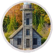 East Channel Lighthouse Round Beach Towel