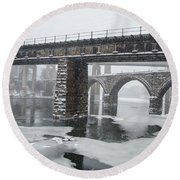 East Falls - The Frozen Schuylkill River Round Beach Towel