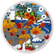 East Meets West Round Beach Towel by Rojax Art