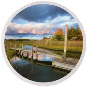 East Moriches Reflections Round Beach Towel