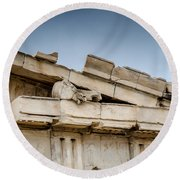 East Pediment - Parthenon Round Beach Towel