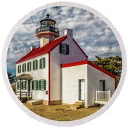 East Point Light -renovated Round Beach Towel