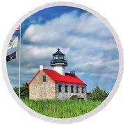 East Point Lighthouse Nj Round Beach Towel