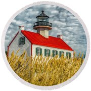 East Point On The Maurice River  Round Beach Towel