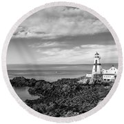 East Quoddy Lighthouse Round Beach Towel