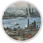 East River From Shelton Hotel Round Beach Towel