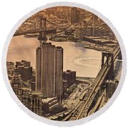East River View Round Beach Towel