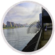 East River View Looking South Round Beach Towel