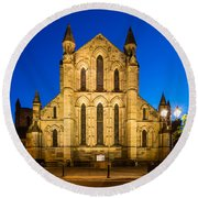 East Side Of Hexham Abbey At Night Round Beach Towel