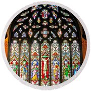 East Stained Glass Window Christ Church Cathedral 1 Round Beach Towel