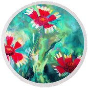East Texas Wild Flowers Round Beach Towel