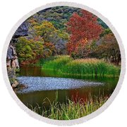 East Trail Pond At Lost Maples Round Beach Towel