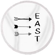 East With Arrows- Art By Linda Woods Round Beach Towel