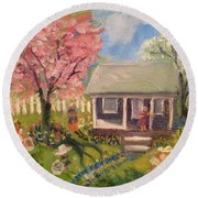 Easter At My House Round Beach Towel