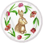 Easter Background Round Beach Towel