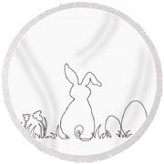 Easter Bunny Card Pen And Ink Drawing Round Beach Towel