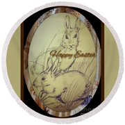 Easter Bunny  Greeting 5 Round Beach Towel