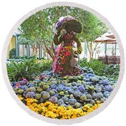 Easter Bunny Topiary Round Beach Towel