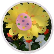 Easter Chick Decoration Round Beach Towel