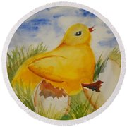 Easter Chick Round Beach Towel