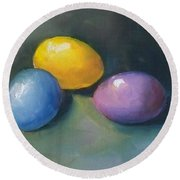 Easter Eggs No. 1 Round Beach Towel