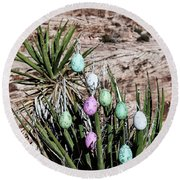 Easter Eggs On The Tree Round Beach Towel
