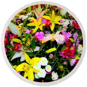 Easter Flowers Round Beach Towel