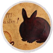 Easter Golden Egg And Chocolate Bunny Round Beach Towel
