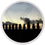 Easter Island Round Beach Towel
