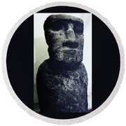 Easter Island Stone Statue Round Beach Towel
