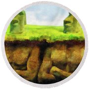Easter Island Truth Round Beach Towel