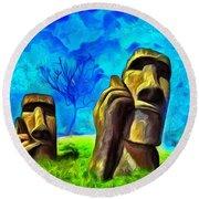 Easter Island - Van Gogh Style - Pa Round Beach Towel