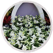 Easter Lillies Round Beach Towel