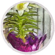 Easter Lily And Doll Round Beach Towel
