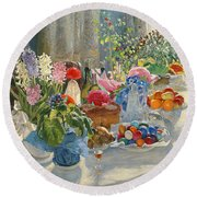 Easter Table Round Beach Towel