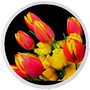 Easter Tulips And Roses Round Beach Towel