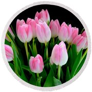 Easter Tulips  Round Beach Towel