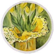 Easter Tulips Round Beach Towel by Maria Langgle