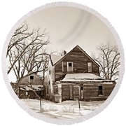Eastern Montana Farmhouse Sepia Round Beach Towel