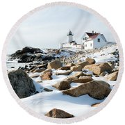 Eastern Point Light II Round Beach Towel